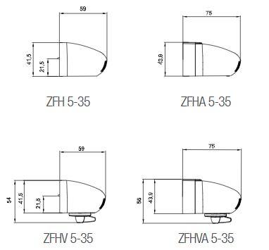 Abmessungen Außenbauteil Luftdurchlass ZFH ZFHV ZFHA ZFHVA 5-35