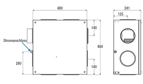Aereco Lüftngsgerät VES 250 technische Zeichnung und Maße