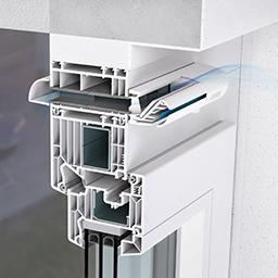 Einbausituation eines Aereco ZFH_ZFHV_ZFHA_ZFHVA 5-35 Außenbauteil Luftdurchlass (ALD)