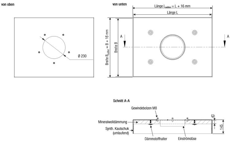 Maße des Aluminium-DS für 1 x DVND 315 von Aereco