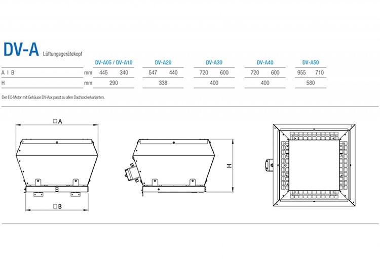 Technische Zeichnung Aereco Lüftungsgerät DV-A