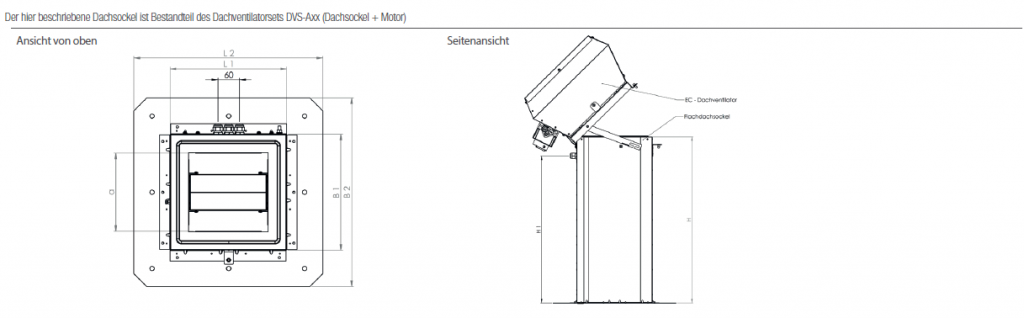 Technische Zeichnung Aereco Lüftungsgerät DVS-A