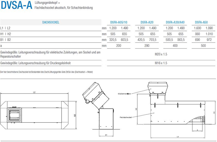 Technische Zeichnung Aereco Lüftungsgerät DVSA-A