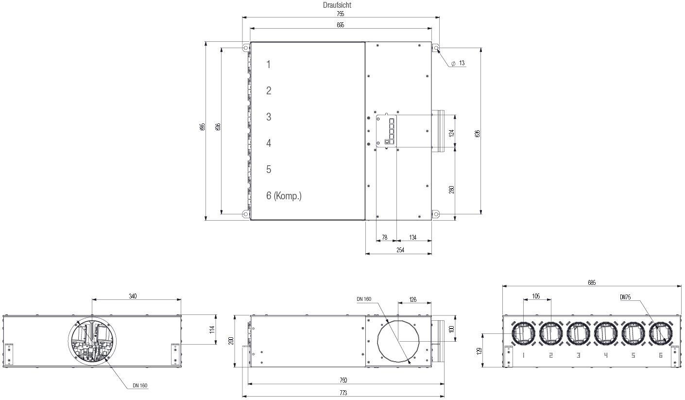 Technische ZeichnungDX-Hub 6 Luftverteilungsbox DN 75 mm - 6 Anschlüsse