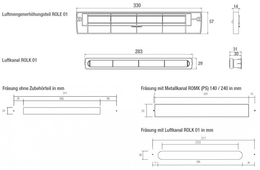 Technische Zeichnung Zubehör für den Außenbauteil Luftdurchlass ZUROH 100_110 MD
