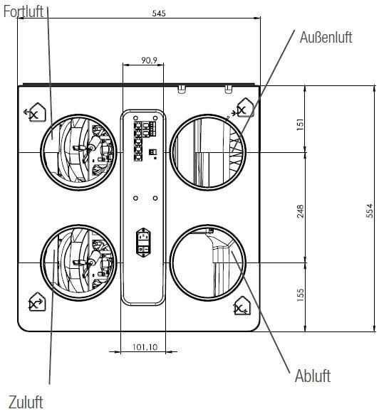 Technische Zeichnung der Aereco DXA Draufsicht - Angaben in mm