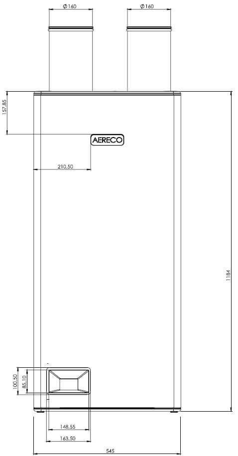 Technische Zeichnung der Aereco DXA Frontansicht - Angaben in mm