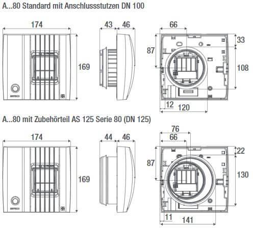 Technische Zeichnungen der Serie 80 Abluftlemente von Aereco