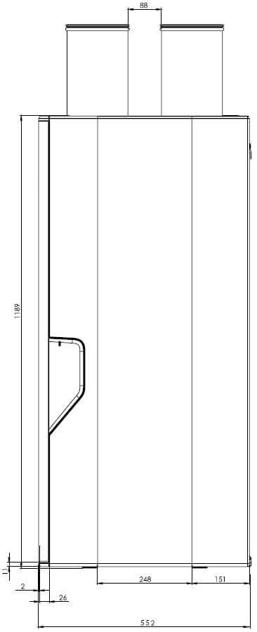 Technsiche Zeichnung der Aereco DXA Seitenansicht - Angaben in mm