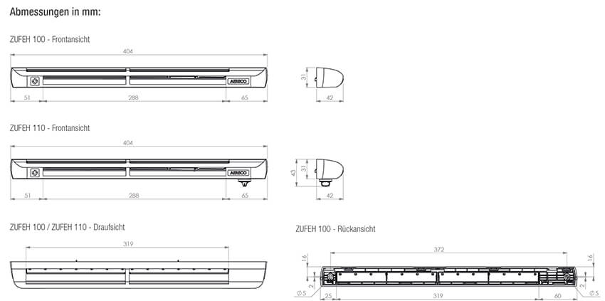 ZUFEH technsiche Zeichnungen und Maße 1