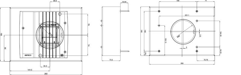 Aereco BM AHP 80 technische Zeichnung und Maße des Abluftelements mit integriertem BRandschutzmodul