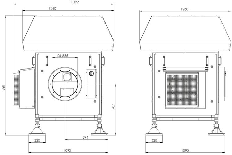 Lüftungsanlage AWN mit Wärmerückgewinnung durch Abluftwärmenutzung Zeichnung