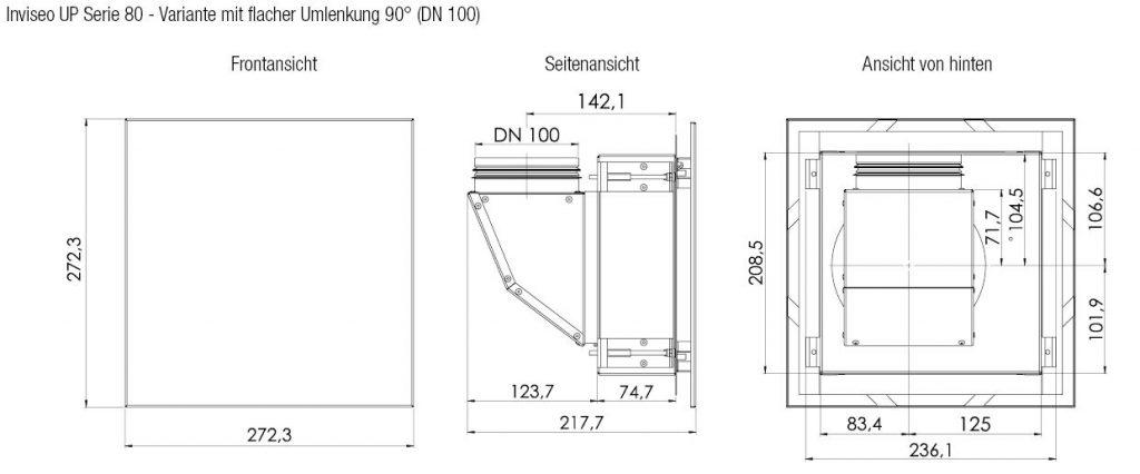 Technische Zeichnung und Maße Inviseo Up Serie 80 Seiten und Frontansicht von Aereco