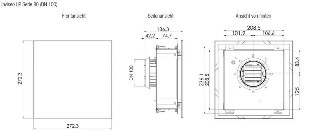 Technische Zeichnung und Maße Inviseo Up Serie 80 von Aereco