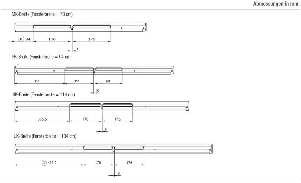 Technische Zeichnung und Maße der Griffleisten