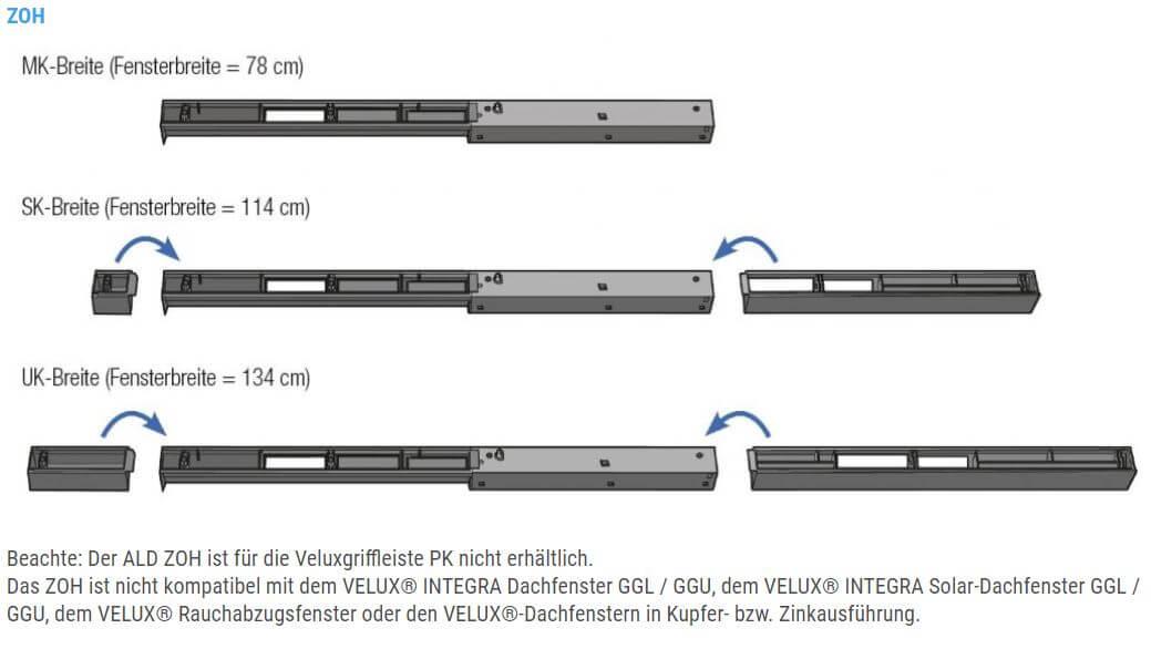 Technische Zeichnung und Maße des Aereco ZOH