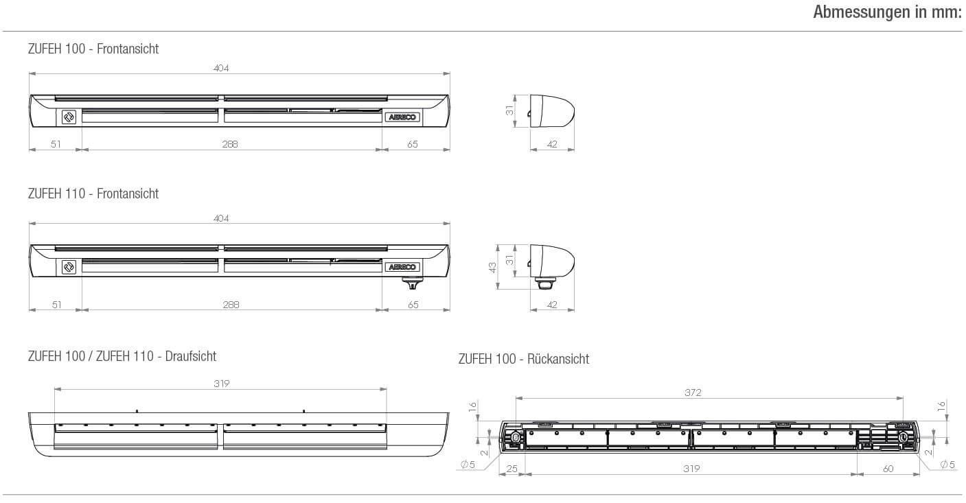 Technische Zeichnung und Maße des Aereco ZUFEH-Elements