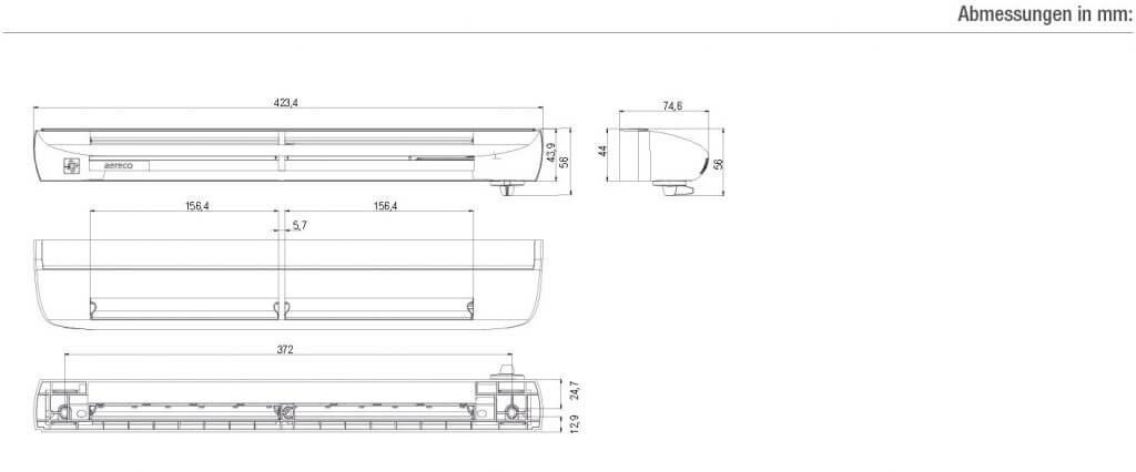 Technische Zeichnung und Maße des ZFH