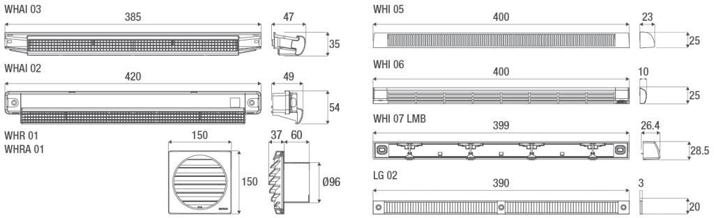 Technische Zeichnungen der Aereco Wetterschutzhauben für den Außenluftdurchlass (ALD)