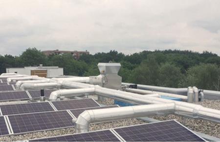 Lüftungsanlage AWN im MFH Aufnahme auf dem Dach