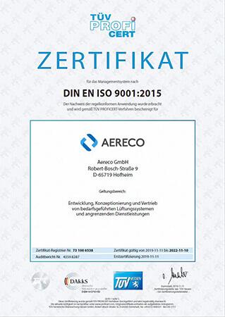 Aereco DIN ENISO 9001 Zertifikat