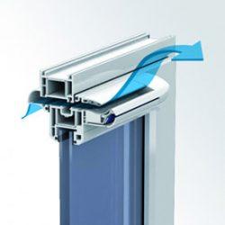Die stromlose und mechanische Regelung der Öffnungsquerschnitte bestimmt den Luftstrom in Abhängigkeit zur relativen Raumluftfeuchte