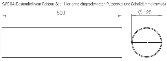 Aereco Außenbauteil-Luftdurchlass KWHRVA 03 und KWHRVA 03 PLUS Set Technische Zeichnung (KWK 04 (Bestandteil vom Rohbau-Set - Hier ohne eingezeichneten Putzdeckel und Schalldämmeinschub)