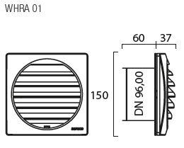 Aereco Außenbauteil-Luftdurchlass KWHRVA 03 und KWHRVA 03 PLUS Set Technische Zeichnung des WHRA 01