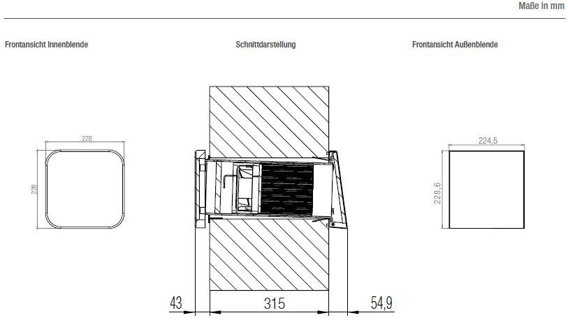 LAD light technische Zeichnung und Maße