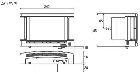 Technische Zeichnung und Maße des Aereco ALD für die Wand ZWRHVA 40