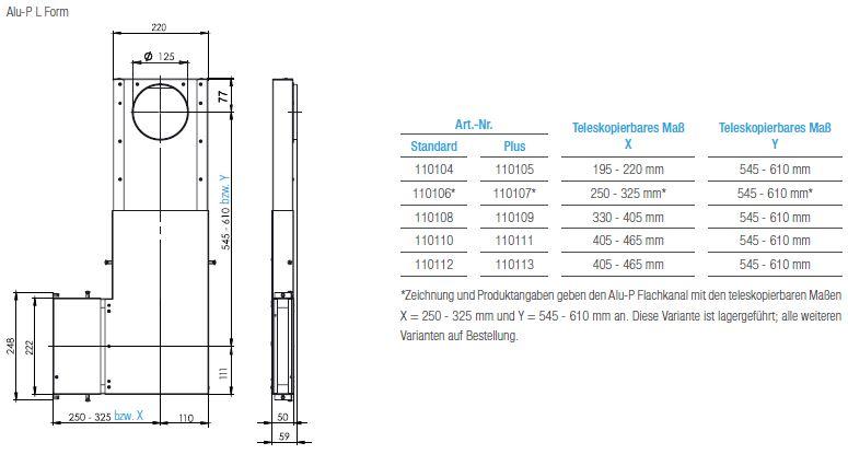 Technische Zeichnung und Maße des Aereco Alu-P L Form