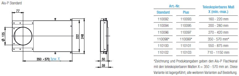 Technische Zeichnung und Maße des Aereco Alu-P Standard