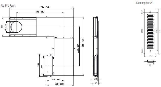 Technische Zeichnung und Maße des Aereco Alu-P U Form