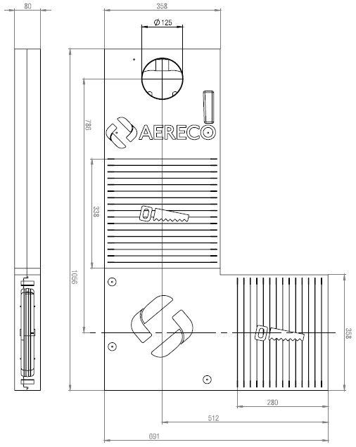 Technische Zeichnung und Maße des Aereco feuchtegeführten ALD-Set für die Wand KWHRVA 03 EPP L Form