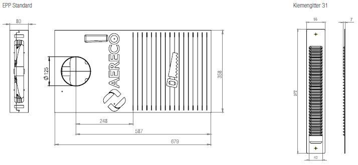 Technische Zeichnung und Maße des Aereco feuchtegeführten ALD-Set für die Wand KWHRVA 03 EPP Standard