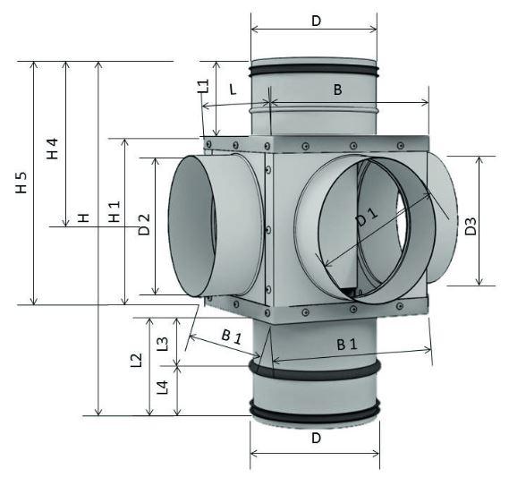 Technische Zeichnung des Aereco RSG RM Rauchschutz und T-Stück