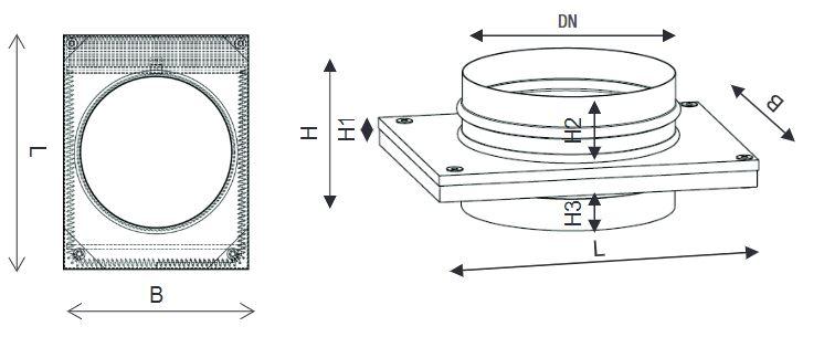 Technische Zeichnung und Maße des Aereco ST-ADW