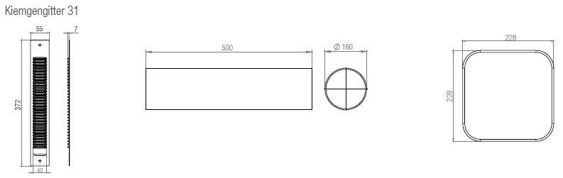 Maße des Kiemengitters, des Einschubs und der Innenblende von LAD light EPP