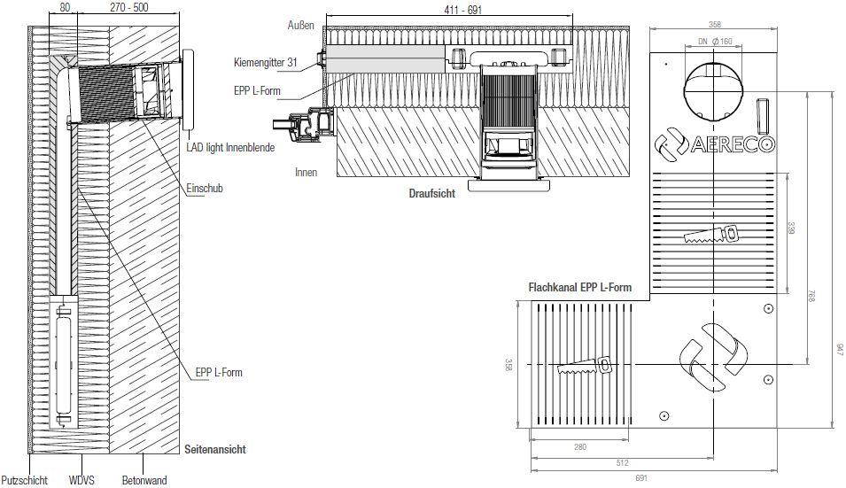 Technische Zeichnung der Einbausituation einer dezentralen Lüftung LAD light EPP L-Form