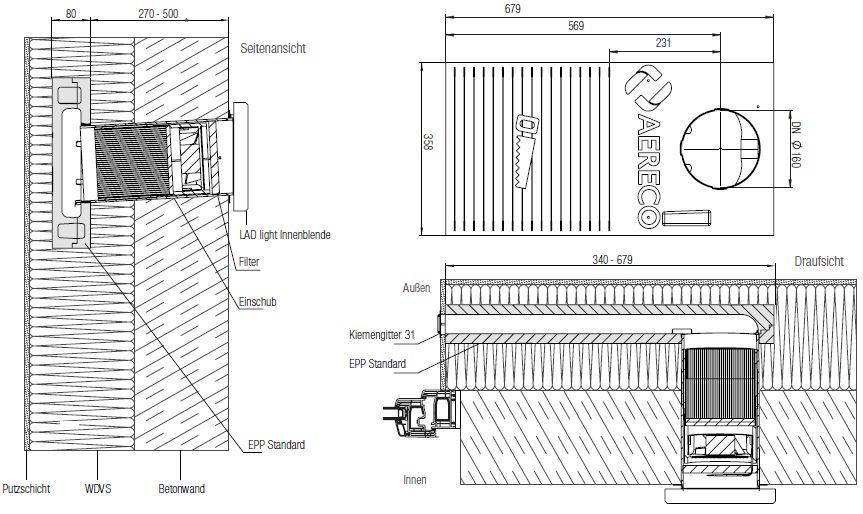 Technische Zeichnung der Einbausituation einer dezentralen Lüftung LAD light EPP Standard