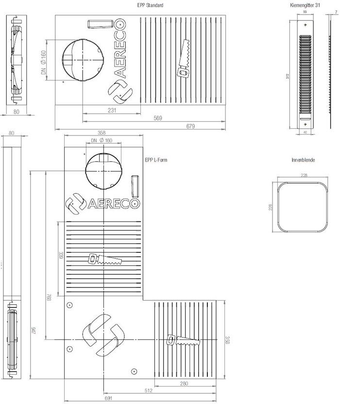 Technische Zeichnung und Maße der dezentralen Lüftung LAD light EPP Standard- und L-Form