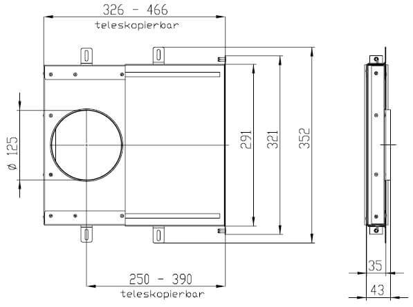 Technische Zeichnung Flachkanal-Set Alu-P Slim Standard