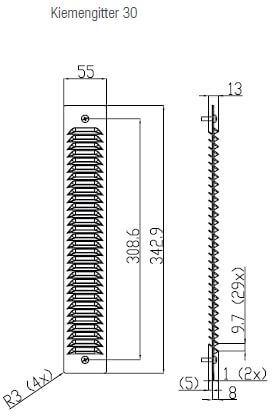 Technische Zeichnung Kiemengitter 30