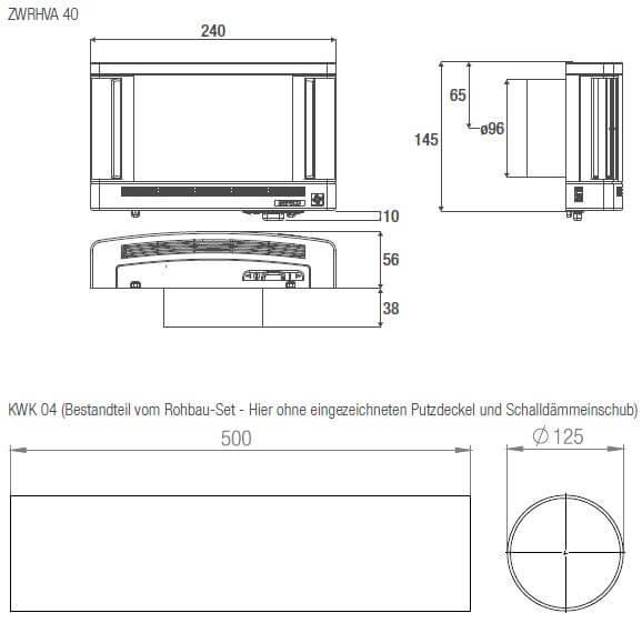 Technische Zeichnung und Maße ZWRHVA 40 und KWK 04