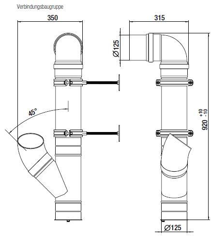 Technische Zeichnung und Maße der Verbidnungsbaugruppe