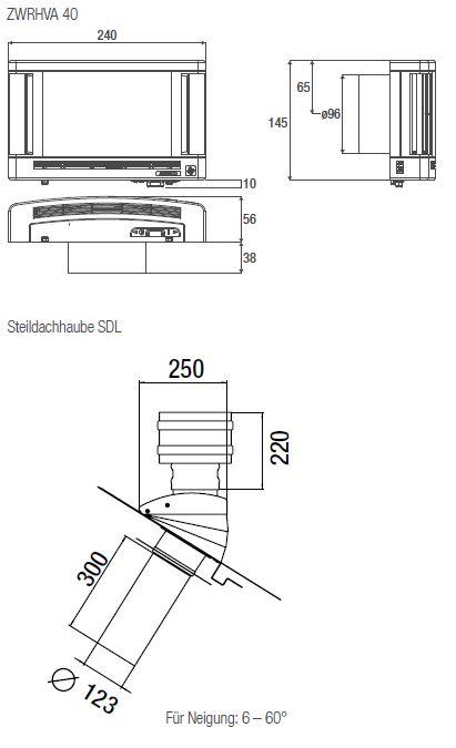Technische Zeichnungen des Außenbauteil-Luftdurchlass ZWRHVA 40 und der Steildachhaube SDL